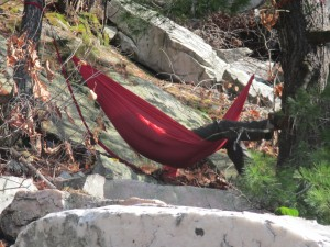 Hammock on the rockfall