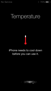 My frozen iPhone said it needed to cool down.